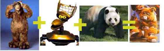 Ok, it looks like a merger Alf, Crow T Robot, and a panda.