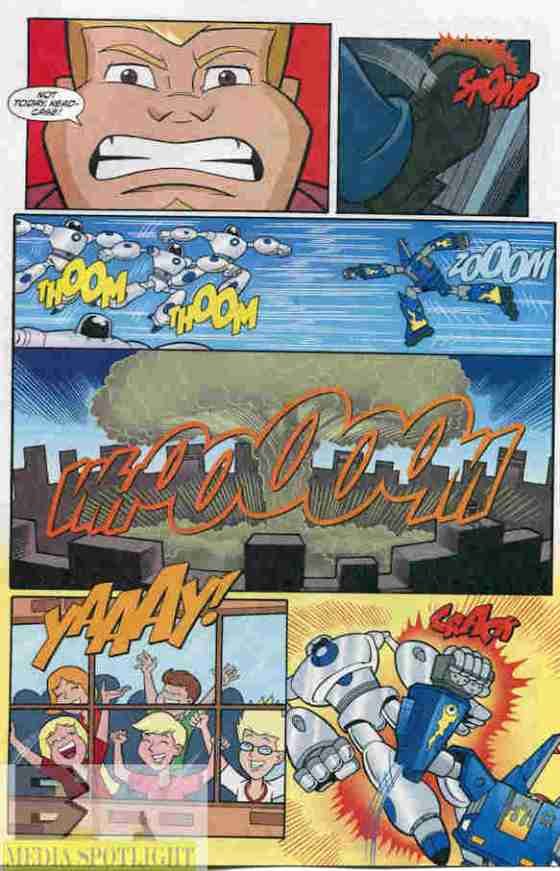 Coop and the Megas battle an army of robots. (from Cartoon Network Action Pack #11)