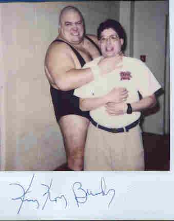 picture of me and pro wrestler King Kong Bundy, at a local wrestling event